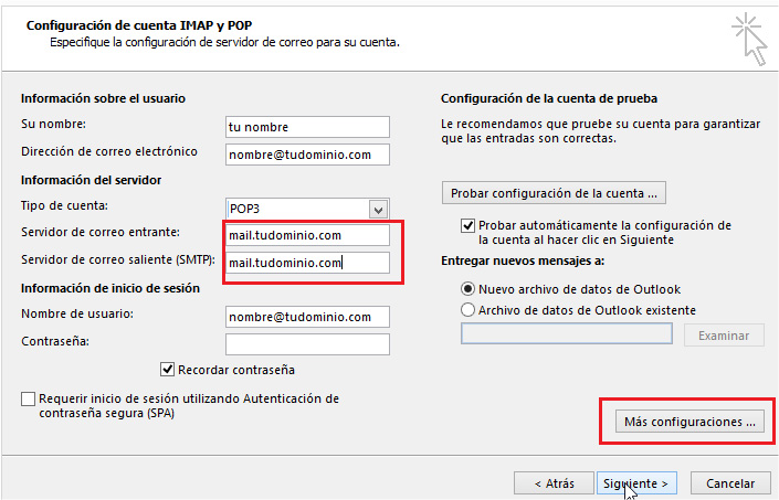 paso 5 - Configurar correo corporativo en Outlook 2016